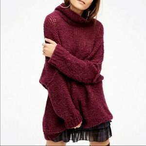 Free People In Her Element Tunic Fuzzy Sweater XS